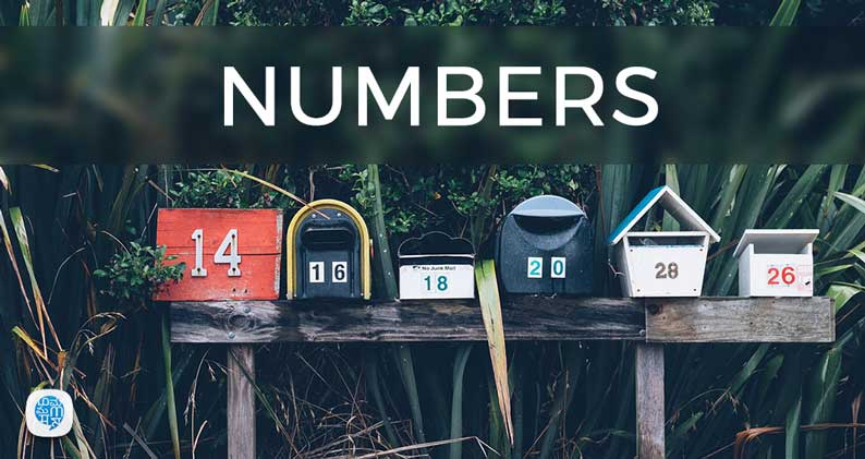 Numbers written in boxes